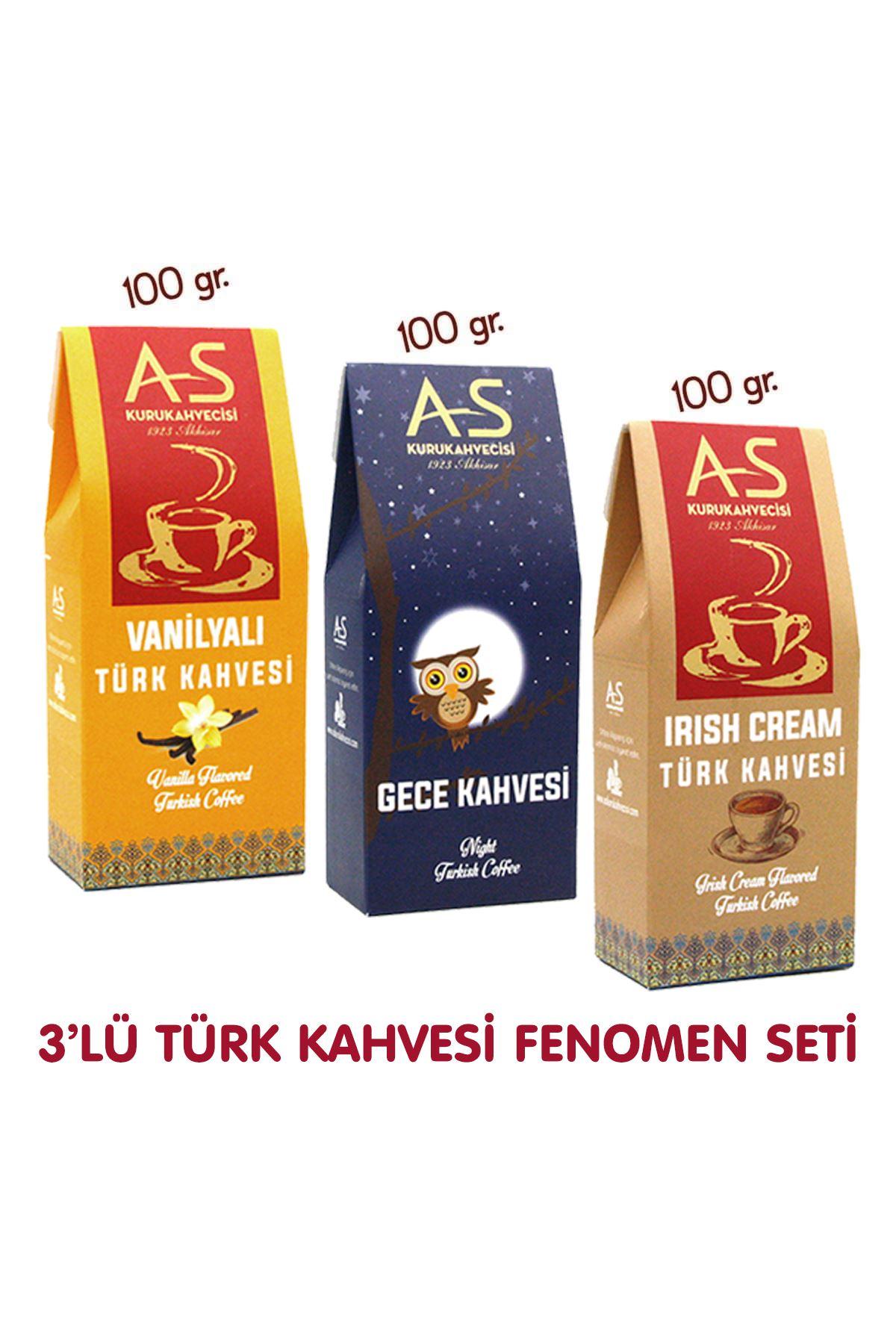 3'lü Türk Kahvesi Fenomen Seti (Vanilya,Gece,İrish)