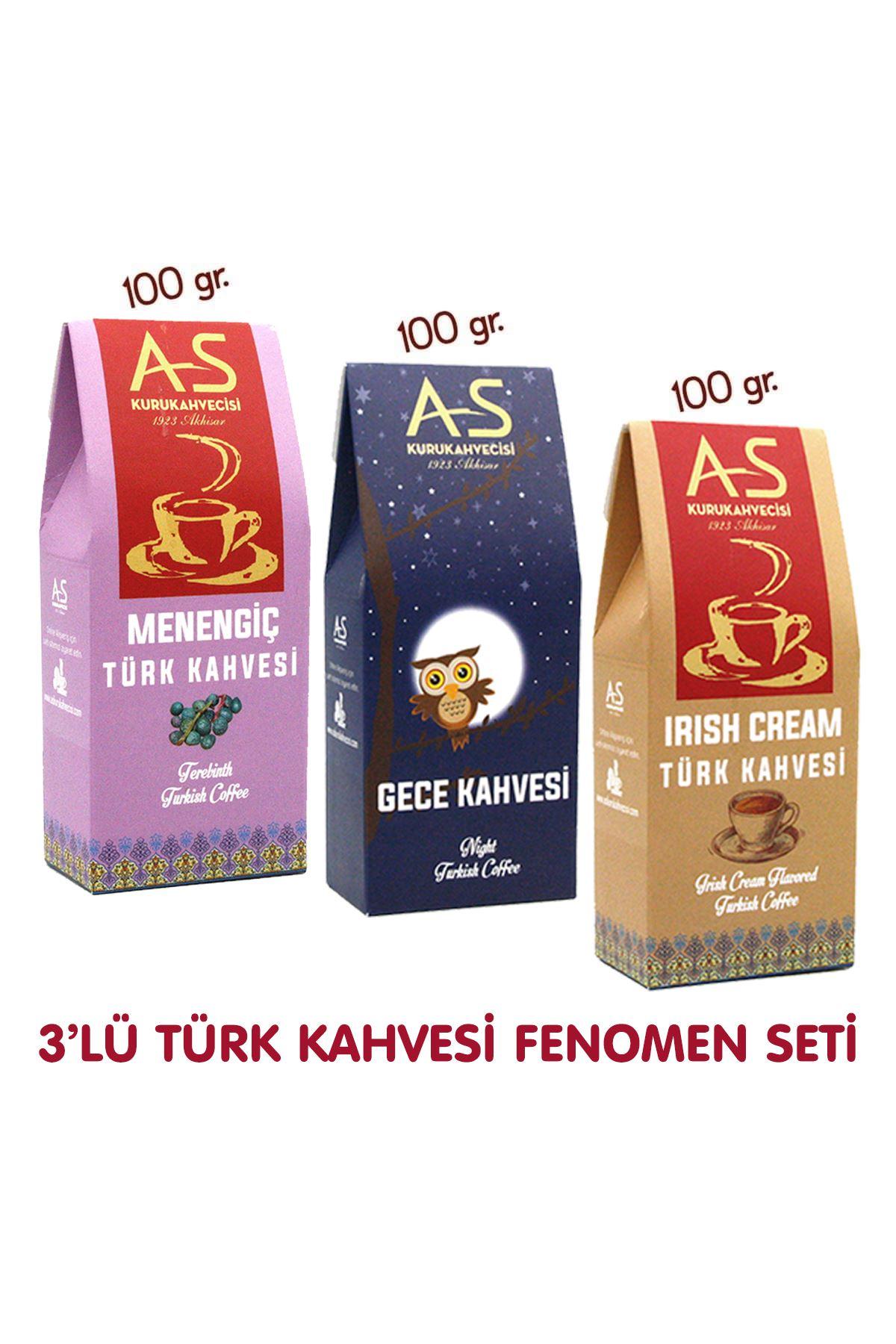 3'lü Türk Kahvesi Fenomen Seti (Menengiç,Gece,İrish)