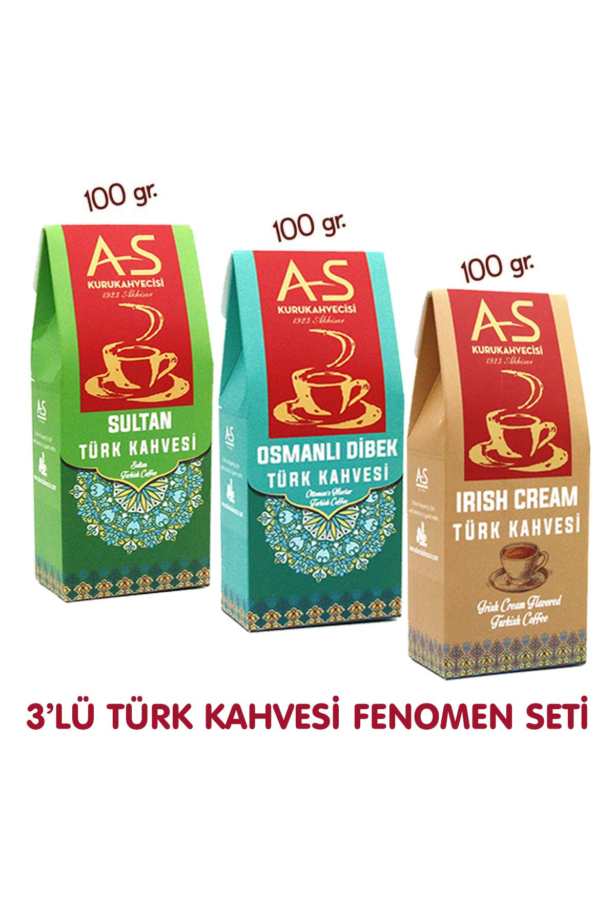 3'lü Türk Kahvesi Fenomen Seti (Sultan,Dibek,İrish)