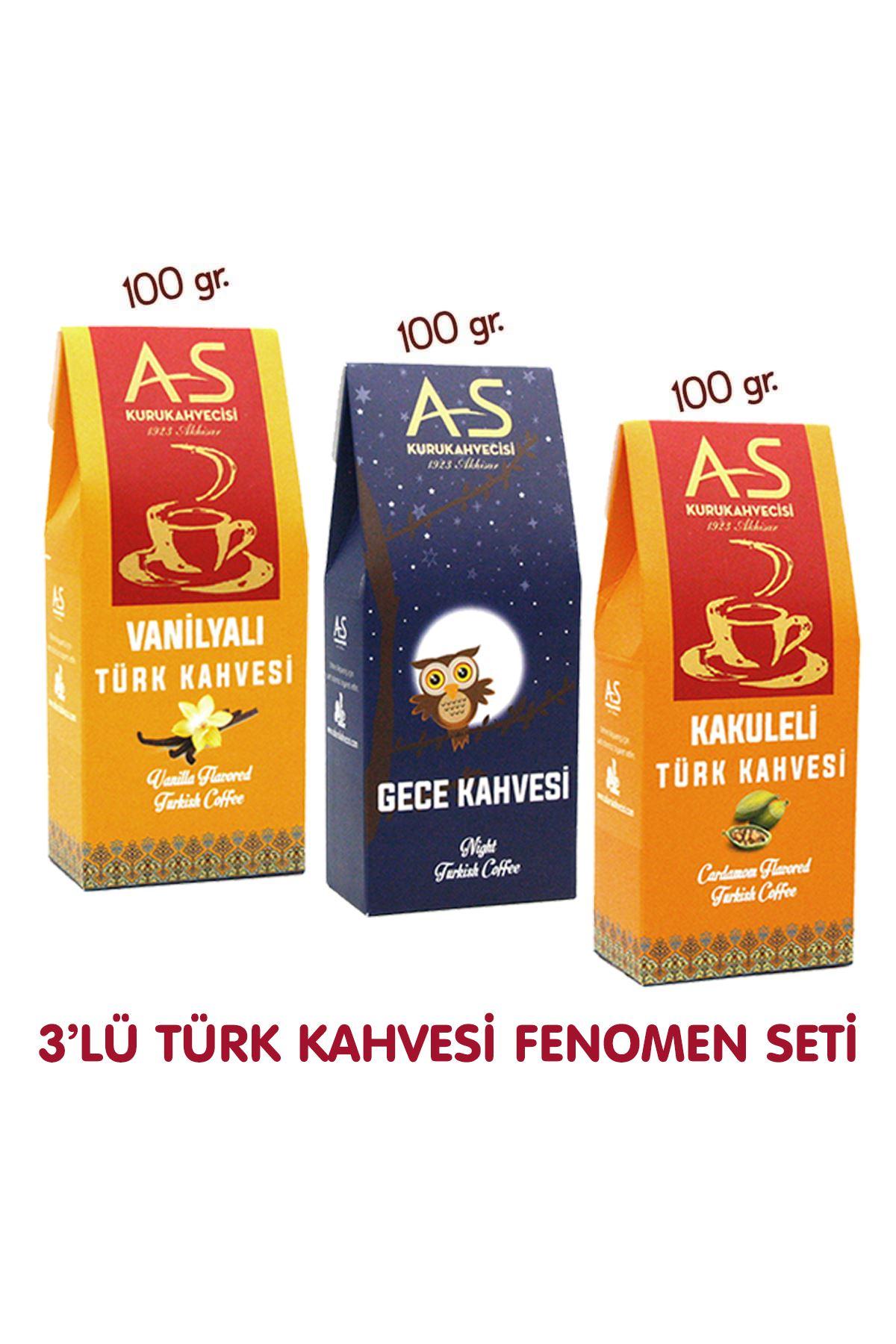 3'lü Türk Kahvesi Fenomen Seti (Vanilya,Gece,Kakule)