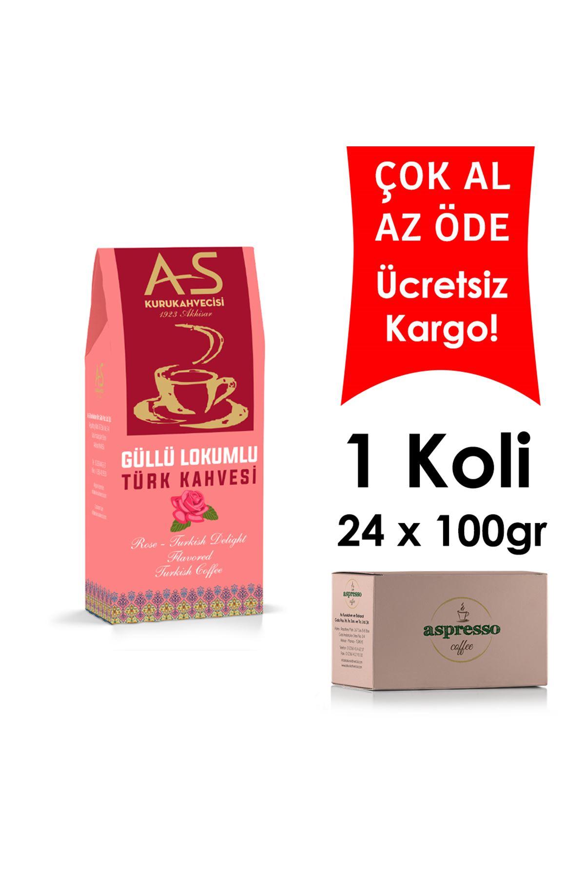Güllü Lokumlu Türk Kahvesi 100 gr. Kutu x 24 Adet