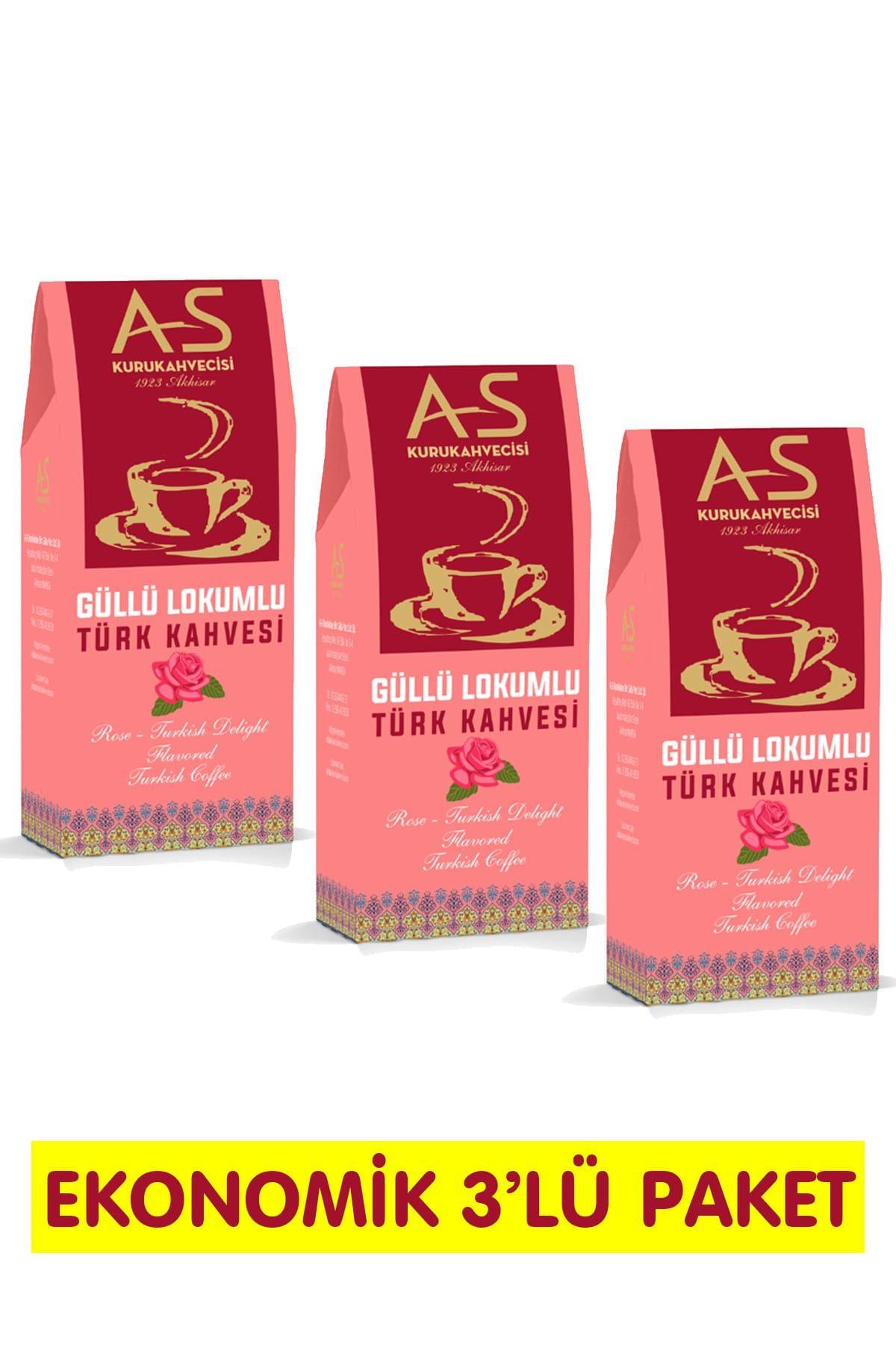 Güllü Lokumlu Türk Kahvesi 100 gr. x 3 Adet